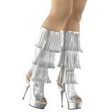 Argento Ecopelle 15 cm DELIGHT-2019-3 stivali con frange donna tacco altissime