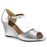 Argento Ecopelle 7,5 cm KIMBERLY-05 grandi taglie sandali donna