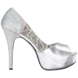 Argento Glitter 14,5 cm Burlesque TEEZE-41W scarpe décolleté per piedi larghi da uomo