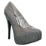 Argento Strass 14,5 cm Burlesque TEEZE-06RW scarpe décolleté per piedi larghi da uomo