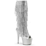 Argento Strass 18 cm ADORE-2024RSF stivali con frange donna tacco altissime