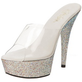 Argento Strass Cristallo 15,5 cm BEJEWELED-601DM Plateau Mules Scarpe