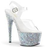 Argento glitter plateau 18 cm ADORE-708LG scarpe da pole dance