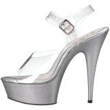 Argento scintillare 15 cm Pleaser DELIGHT-608HG scarpe con tacchi da pole dance