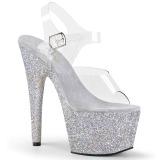Argento scintillare 18 cm Pleaser ADORE-708HMG scarpe con tacchi da pole dance