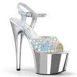 Argento scintillare 18 cm Pleaser ADORE-709MMRS sandali con tacchi da pole dance