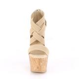 Banda marrone 16,5 cm BEAU-669 sandali zeppa altissima con plateau in sughero
