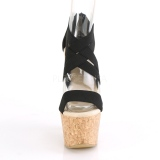 Banda nera 16,5 cm BEAU-669 sandali zeppa altissima con plateau in sughero