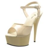 Beige 15 cm DELIGHT-609 platform pleaser high heels shoes