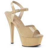 Beige 15 cm Pleaser KISS-209 sandali tacchi a spillo