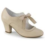 Beige 6,5 cm WIGGLE-32 retro vintage scarpe décolleté maryjane tacco spesso