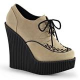 Beige Ecopelle CREEPER-302 scarpe creepers zeppe altissime