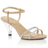 Beige Glitter 8 cm BELLE-316 Womens High Heel Sandals
