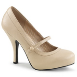Beige Leatherette 11,5 cm PINUP-01 big size pumps shoes