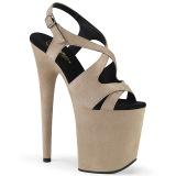 Beige Leatherette 20 cm FLAMINGO-831FS high heeled sandals