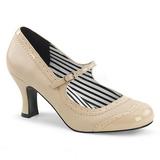 Beige Leatherette 7,5 cm JENNA-06 big size pumps shoes