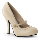 Beige Matto 12 cm retro vintage CUTIEPIE-02 scarpe mary jane con plateau nascosto