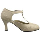 Beige Matto 7,5 cm retro vintage FLAPPER-26 scarpe décolleté con tacchi bassi