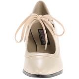 Beige Matto 7 cm retro vintage VICTORIAN-03 scarpe décolleté con tacchi bassi
