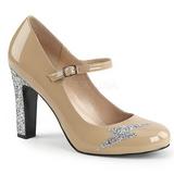 Beige Patent 10 cm QUEEN-02 big size pumps shoes