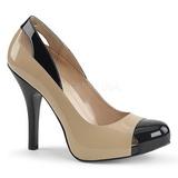 Beige Patent 12,5 cm EVE-07 big size pumps shoes