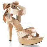 Beige Satin 13 cm COCKTAIL-568 High Heeled Sandal Shoes