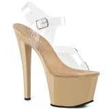 Beige Transparent 18 cm SKY-308 High Heels Platform