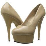 Beige Vernice 15 cm Pleaser DELIGHT-685 Plateau scarpe décolleté