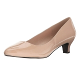 Beige Vernice 5 cm FAB-420W scarpe décolleté con tacchi bassi
