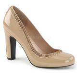 Beige Verniciata 10 cm QUEEN-04 grandi taglie scarpe décolleté