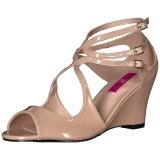 Beige Verniciata 7,5 cm KIMBERLY-04 grandi taglie sandali donna