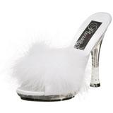 Bianco 12,5 cm GLITZY-501-8 piume di marabu Mules Scarpe