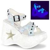 Bianco 13 cm Demonia DYNAMITE-02 scarpe lolita sandali con zeppa