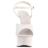 Bianco 15 cm DELIGHT-609 tacco alto pleaser con plateau