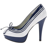 Bianco Blu 13 cm LOLITA-13 Scarpe Décolleté da Sera