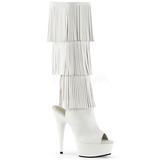 Bianco Ecopelle 15 cm DELIGHT-2019-3 stivali con frange donna tacco altissime