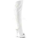 Bianco Ecopelle 15 cm DELIGHT-3019 plateau suola stivali alti lunghi con tacco