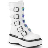 Bianco Ecopelle 5 cm EMILY-330 stivali donna con fibbie e plateau alto