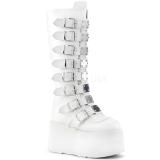 Bianco Ecopelle 9 cm DAMNED-318 stivali donna con fibbie e plateau alto