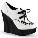 Bianco Ecopelle CREEPER-302 scarpe creepers zeppe altissime
