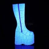 Bianco Glitter 18 cm STACK-301G stivali demonia unisex - stivali da cyberpunk