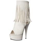 Bianco Matto 15 cm DELIGHT-1019 stivaletti con frange donna tacco alto