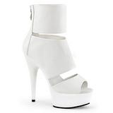 Bianco Matto 15 cm DELIGHT-600-16 Plateau Stivaletti Donna Open Toe