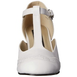 Bianco Matto 7,5 cm retro vintage FLAPPER-26 scarpe décolleté con tacchi bassi