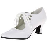 Bianco Matto 7 cm retro vintage VICTORIAN-03 scarpe décolleté con tacchi bassi