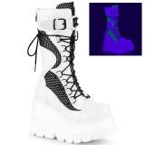 Bianco Neon 11,5 cm SHAKER-70 stivali cyberpunk con plateau