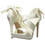 Bianco Raso 12 cm LUMINA-29 Sandali da Sera con Tacco Alto