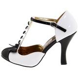Bianco Scamosciata 10 cm SMITTEN-10 Rockabilly scarpe décolleté con tacchi bassi