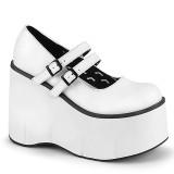 Bianco Vegano 11,5 cm DEMONIA KERA-08 scarpe décolleté mary jane plateau