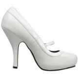 Bianco Vernice 12 cm retro vintage CUTIEPIE-02 scarpe mary jane con plateau nascosto